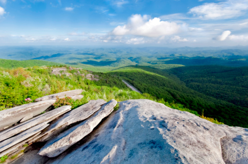 istock Blue Ridge Mountains with grass and clouds 105493933
