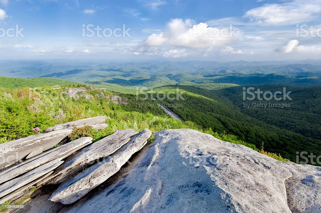 Blue Ridge Mountains with grass and clouds stock photo