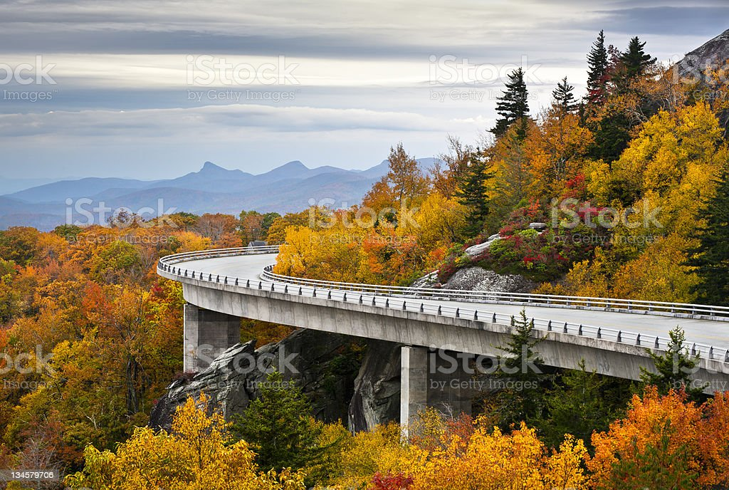 Blue Ridge Parkway Autumn Linn Cove Viaduct Fall Foliage Mountains stock photo