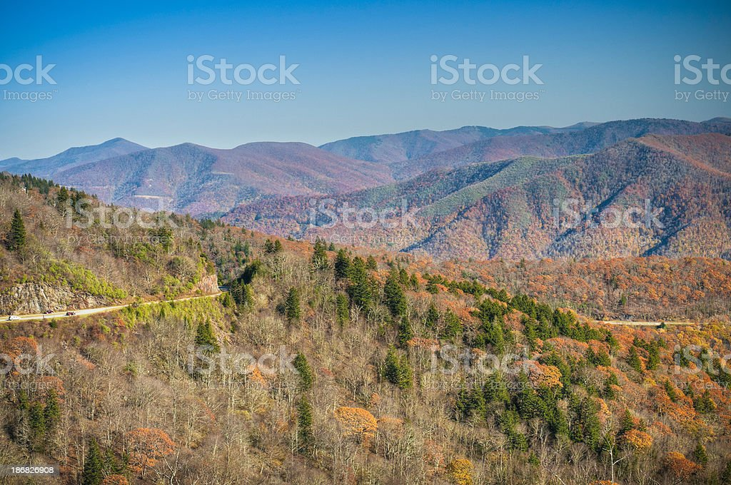 Blue Ridge Parkway from Waterrock Knob Overlook, North Carolina, USA royalty-free stock photo