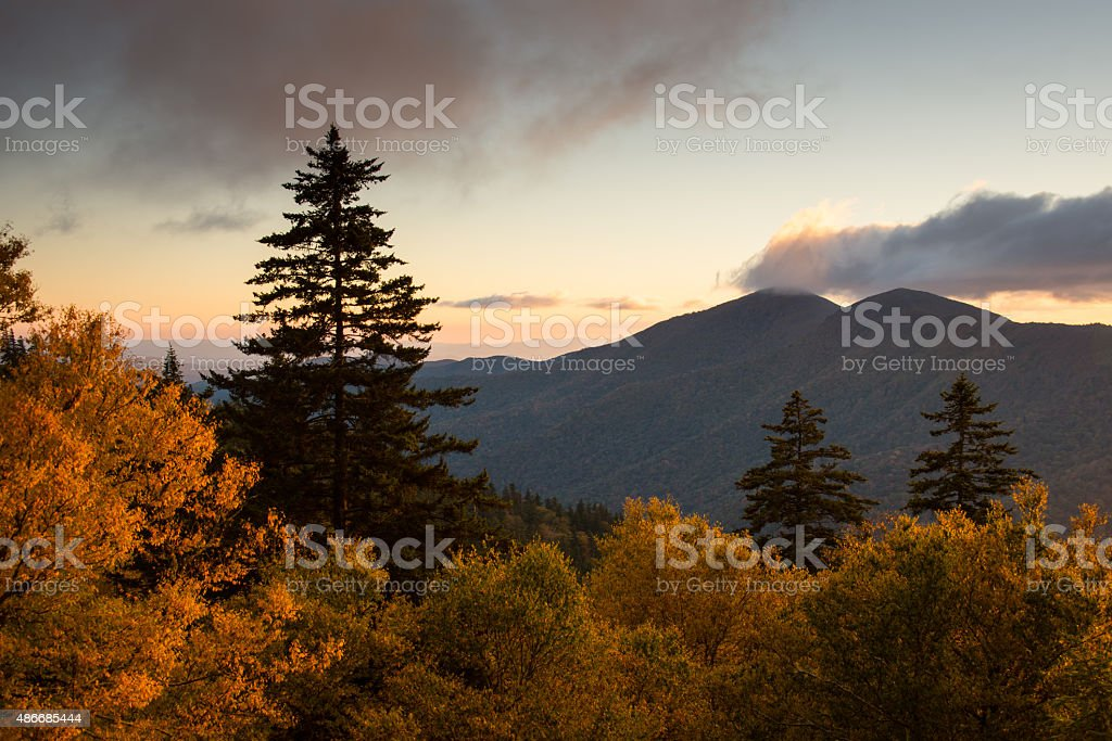 Blue Ridge Parkway in Fall Color stock photo