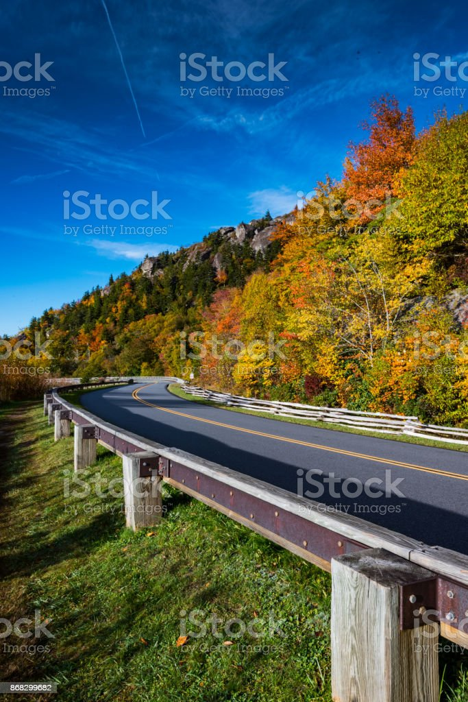 Blue Ridge Parkway In Fall With Blue Sky stock photo