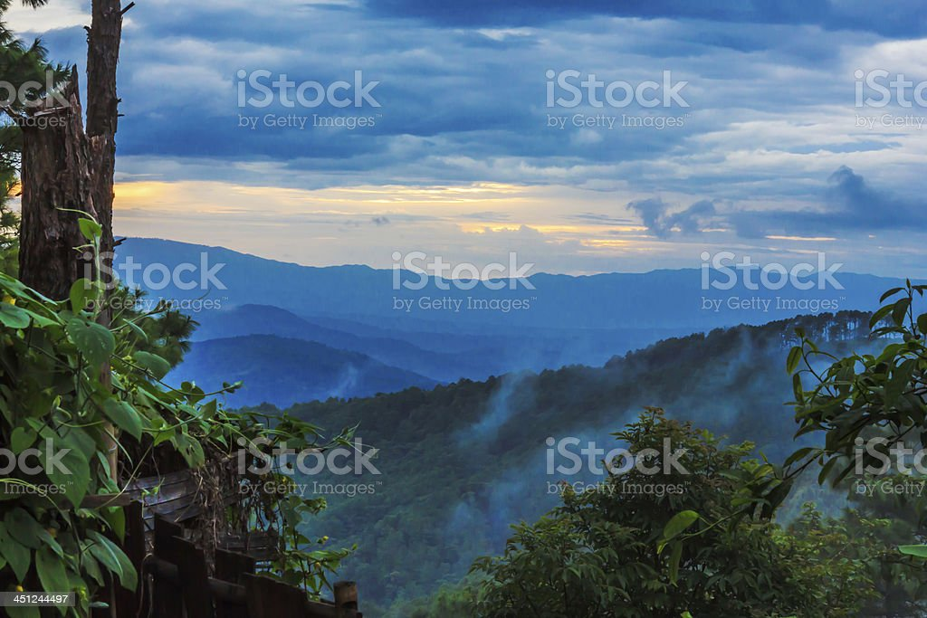 Blue Ridge Parkway Mountains Sunset over Spring stock photo