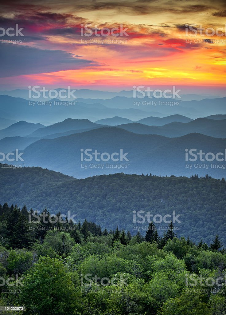 Blue Ridge Parkway Scenic Landscape Appalachian Mountains Ridges Sunset Layers stock photo
