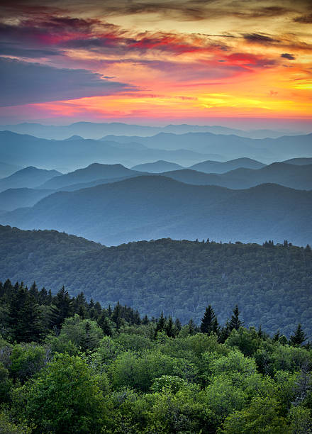 Blue Ridge Parkway Scenic Landscape Appalachian Mountains Ridges Sunset Layers Blue Ridge Parkway Scenic Landscape Appalachian Mountains Ridges Sunset Layers over Great Smoky Mountains National Park appalachia stock pictures, royalty-free photos & images