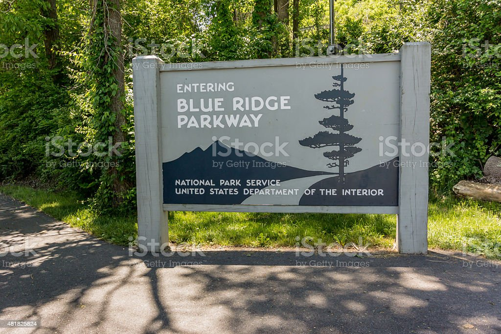 Blue Ridge Parkway Sign stock photo