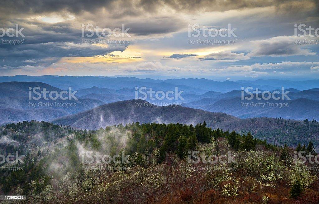 Blue Ridge Parkway Southern Appalachians Smoky Mountains Scenic Landscape NC royalty-free stock photo