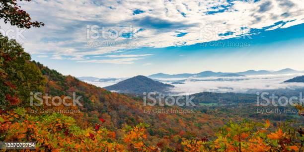 Photo of Blue Ridge Parkway summer foggy autumn landscape.