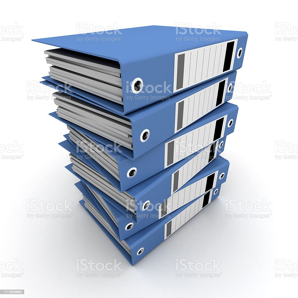 Blue ring binders on a pile royalty-free stock photo