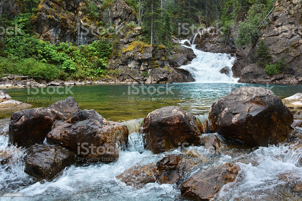 Blue River and Waterfall stock photo