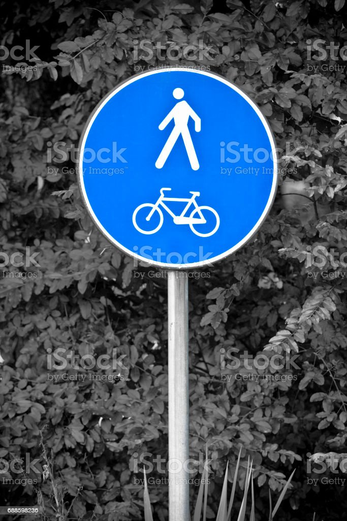 Blue road bicycle sign stock photo