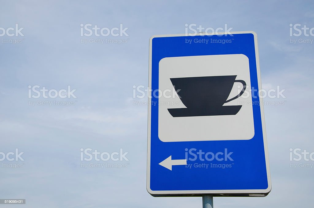 blue road sign show for coffee bar restaurant inn stock photo
