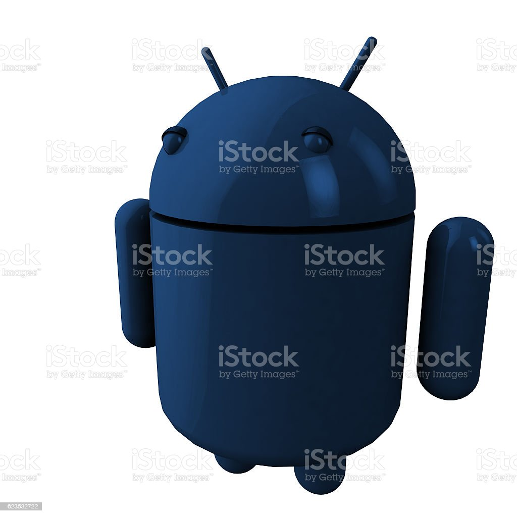 blue robot made in 3d stock photo
