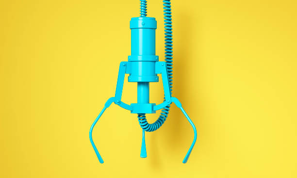 Blue robotic claw on yellow background and space for text Claw crane arcade game. 3d illustration claw stock pictures, royalty-free photos & images