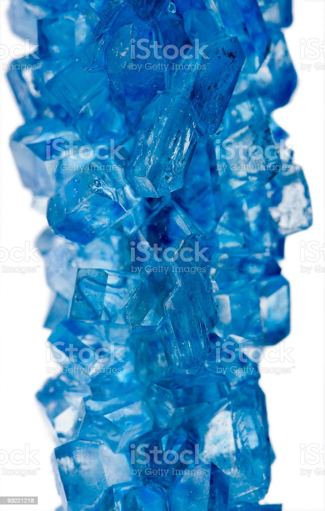 blue rock candy crystals close up stock photo