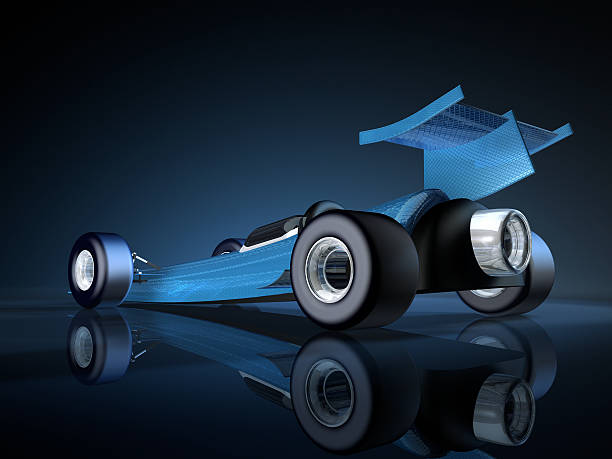 Blue Rocket Car 3D Rendering. My own car design! Very high resolution available!Related images: motor sport stock pictures, royalty-free photos & images