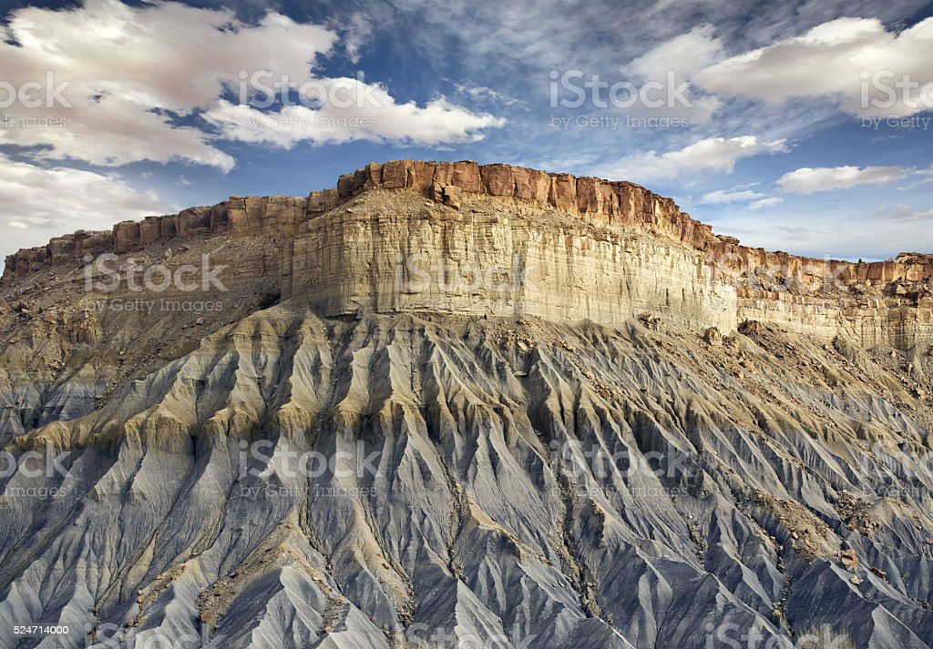 blue rocky cliff in Utah stock photo
