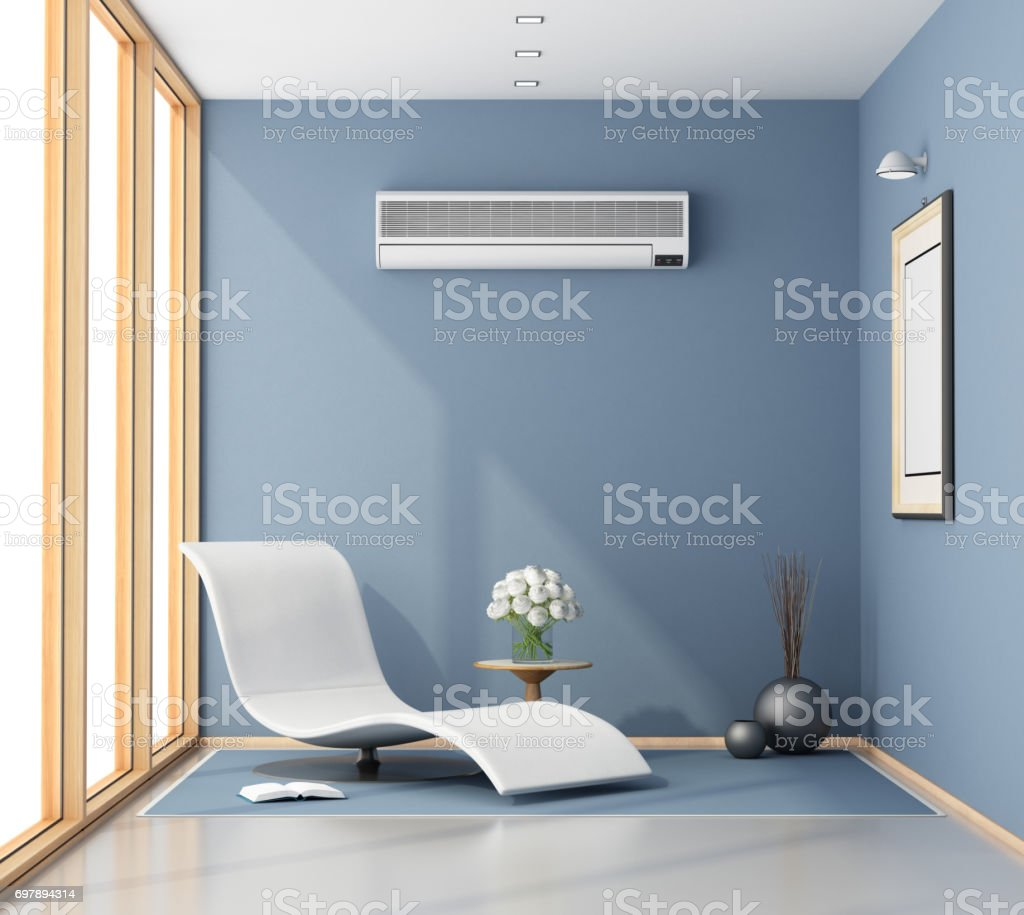 Blue room with chaise lounge stock photo