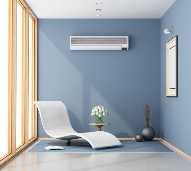 Blue room with chaise lounge Little blue room with chaise lounge, air conditioner and large window - 3d rendering  chaise longue stock pictures, royalty-free photos & images