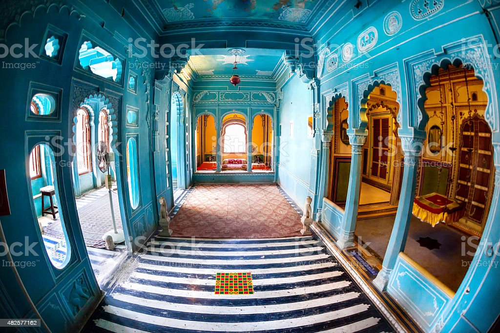 Blue rooms in City Palace stock photo