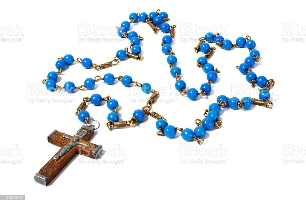 Blue rosary stock photo