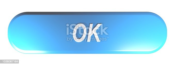 istock Blue rounded rectangle push button OK - 3D rendering 1038067164