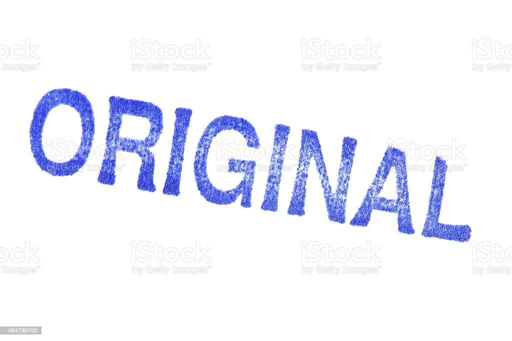 ORIGINAL -  blue Rubber Stamp isolated on white background stock photo