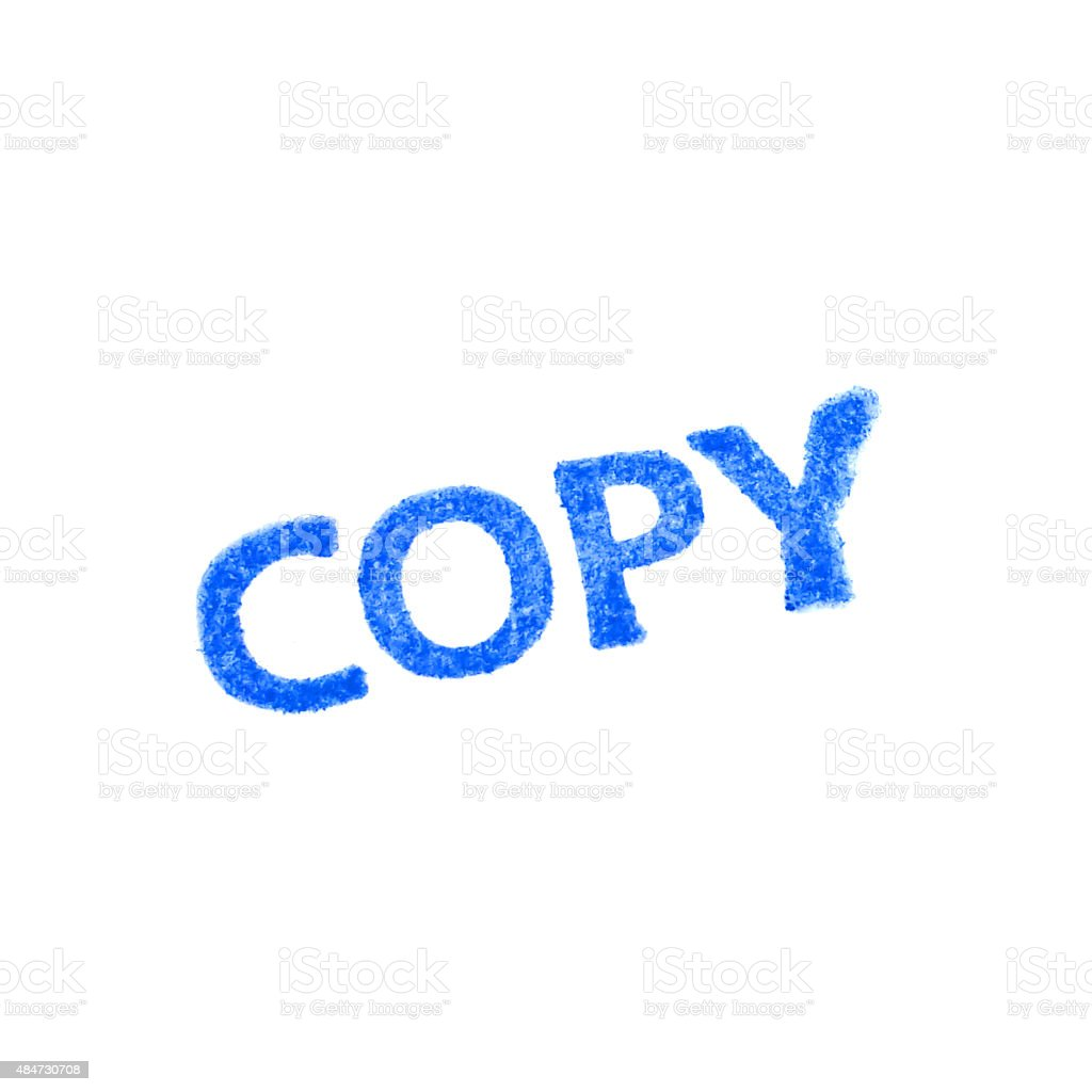 COPY-  blue Rubber Stamp isolated on white background. stock photo