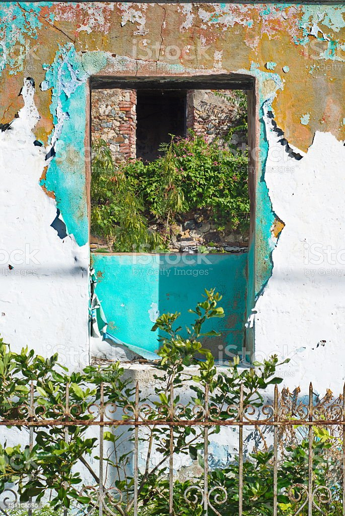 Blue Ruins in St. Thomas, USVI stock photo