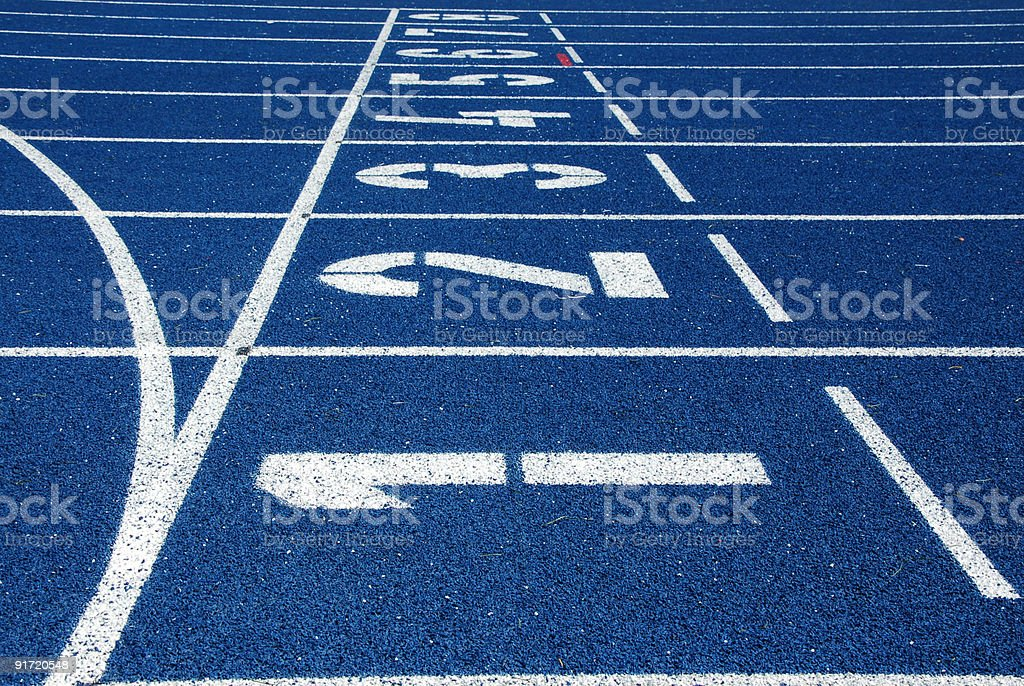 Blue running track royalty-free stock photo