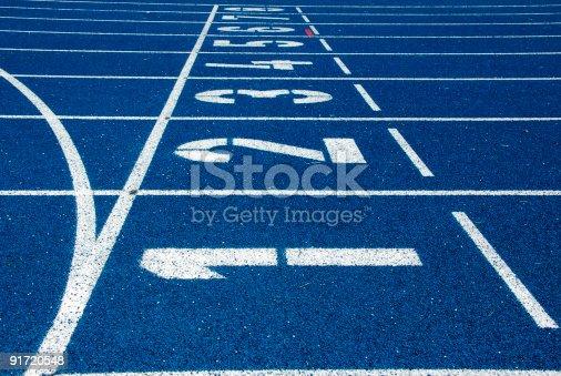 istock Blue running track 91720548