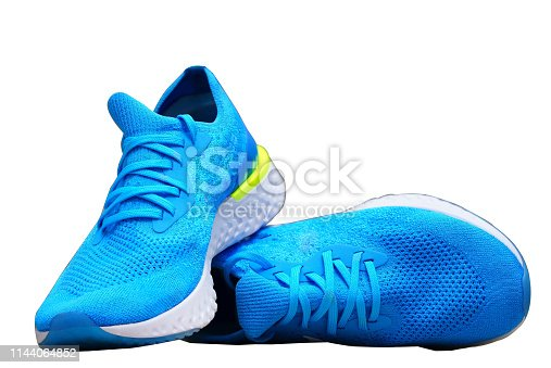 blue runnung or sport shoes on isolated white background
