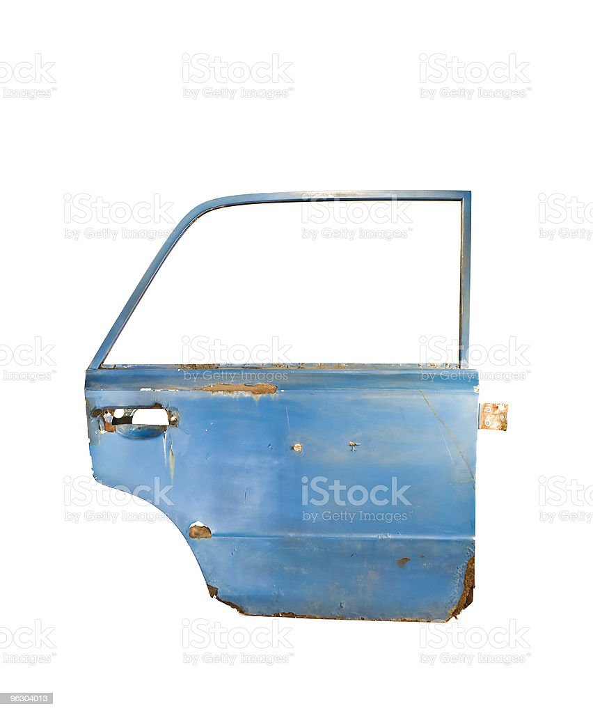 Blue Rusty Car Door stock photo