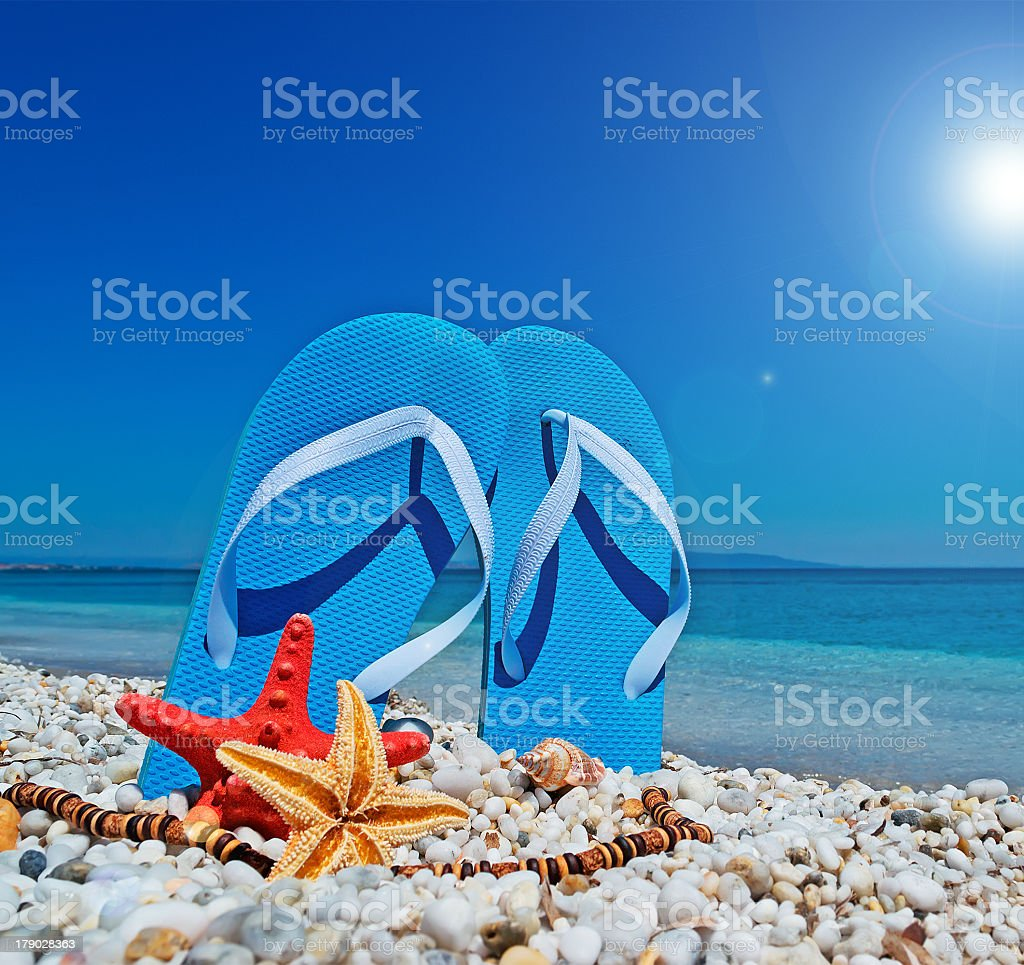 blue sandals and sun royalty-free stock photo
