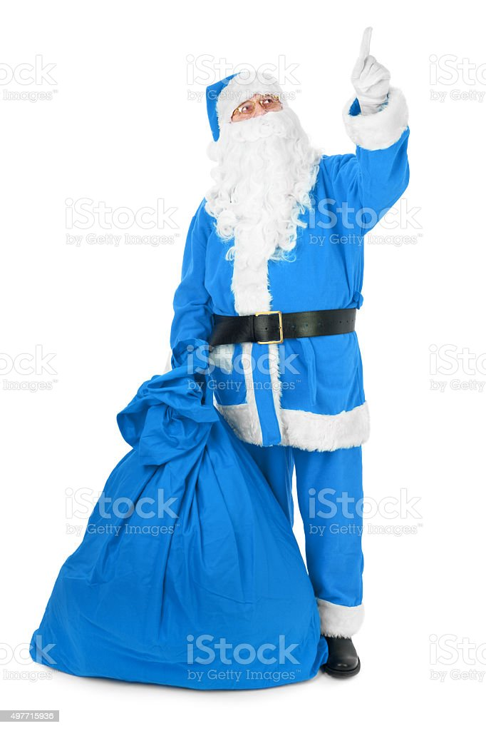Blue Santa pointing his finger at an object stock photo