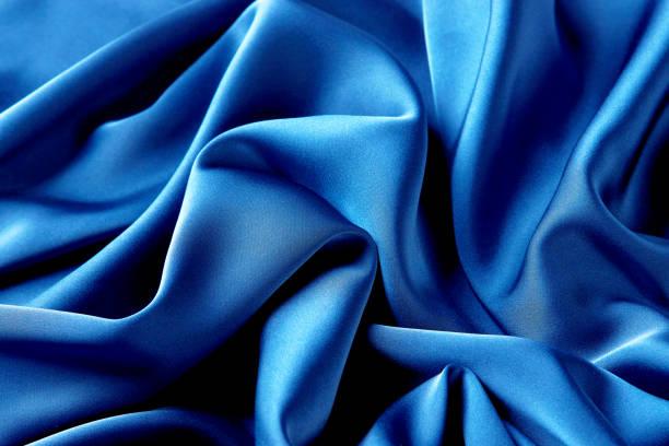 藍色藍寶石彩色絲織布背景,頂視圖。圖像檔