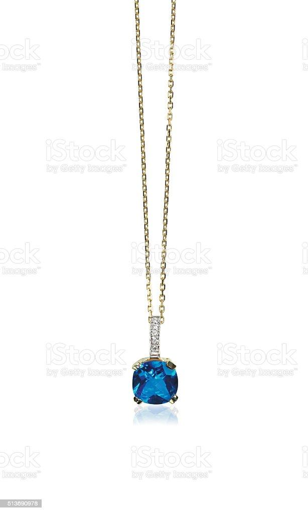 Blue sapphire gemstone birthstone necklace with diamonds stock photo