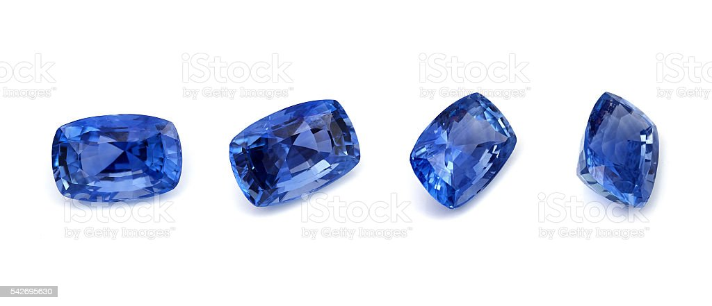 Blue Sapphire loose gemstone stock photo
