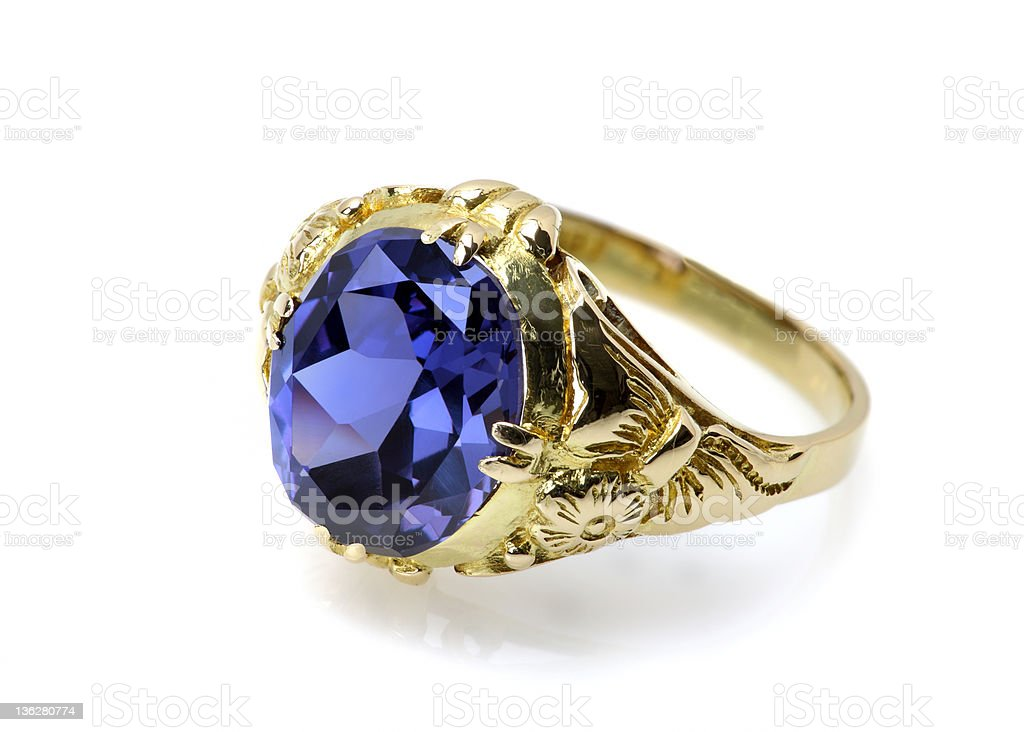 Blue Sapphire or Tanzanite Ring royalty-free stock photo