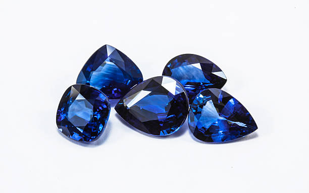 blue sapphires - sapphire gemstone stock photos and pictures