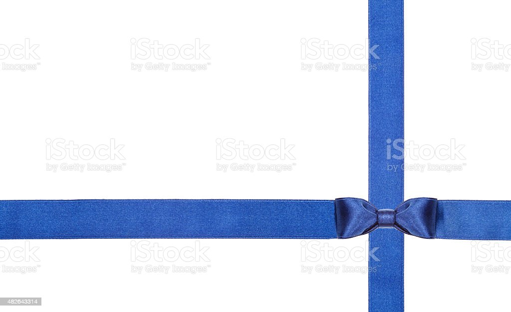 blue satin bows and ribbons isolated - set 11 stock photo