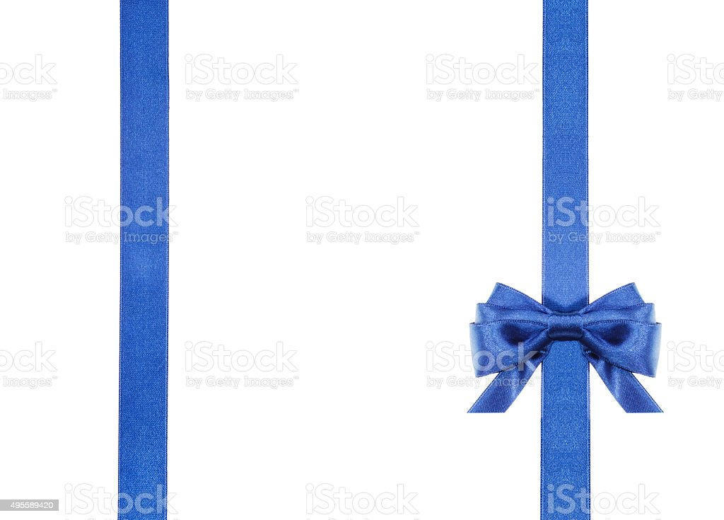 blue satin bows and ribbons isolated - set 16 stock photo