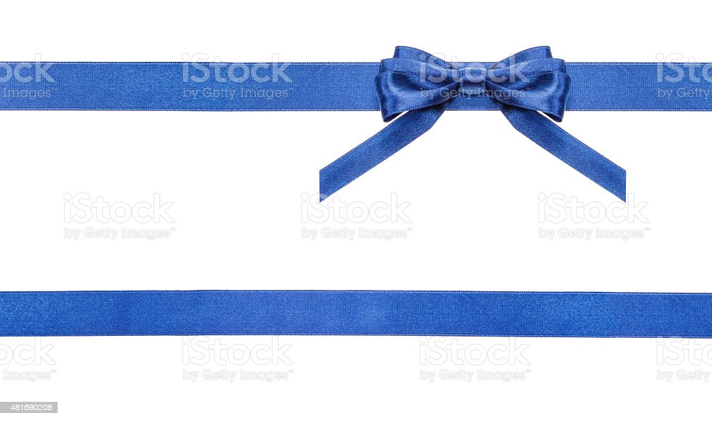 blue satin bows and ribbons isolated - set 18 stock photo