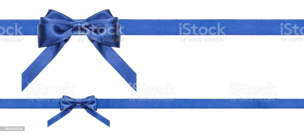 blue satin bows and ribbons isolated - set 35 stock photo