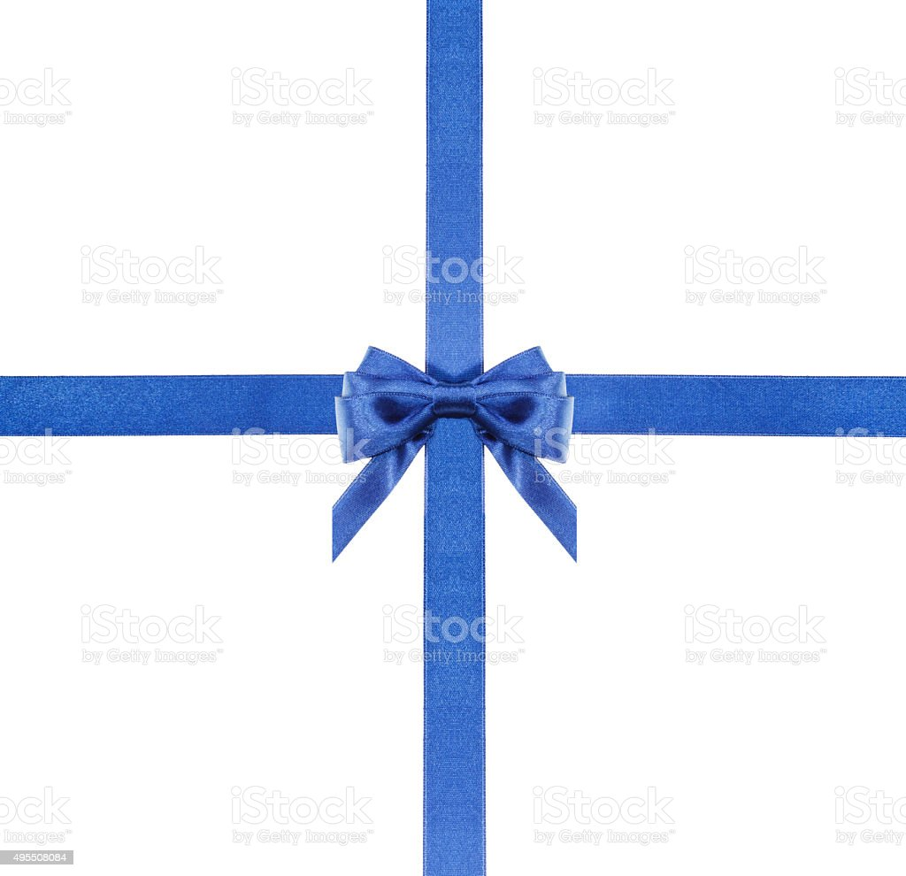 blue satin bows and ribbons isolated - set 4 stock photo