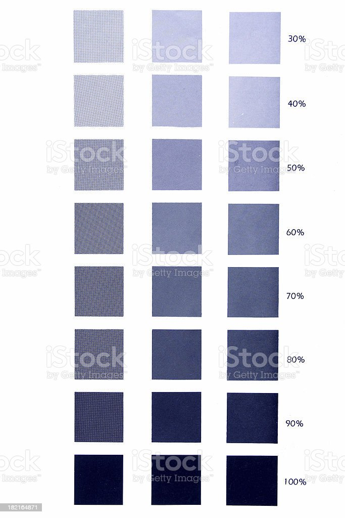 blue scale, offset printing colour sampler... royalty-free stock photo