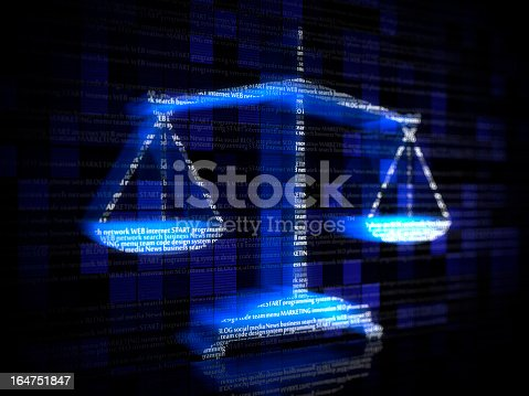 istock Blue scales with computer coding terms 164751847