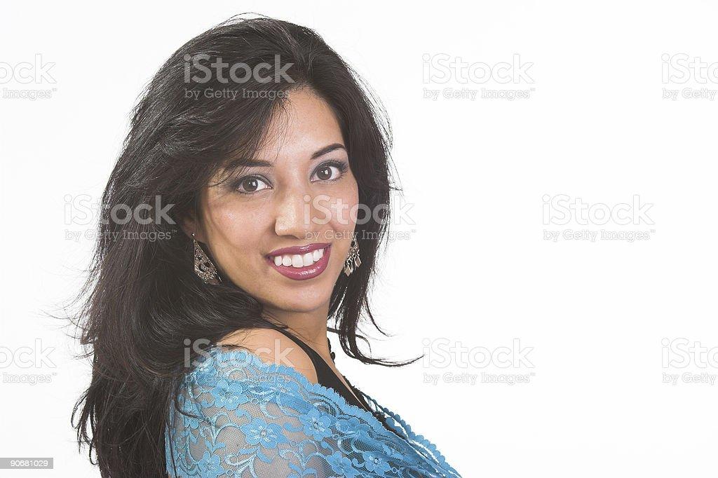 Blue scarf, big smile royalty-free stock photo