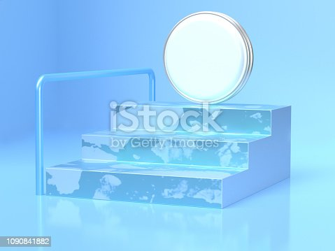 479257178istockphoto blue scene staircase white circle abstract 3d rendering scene 1090841882