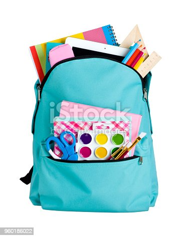 istock Blue school bag with school supplies isolated on white background 960186022